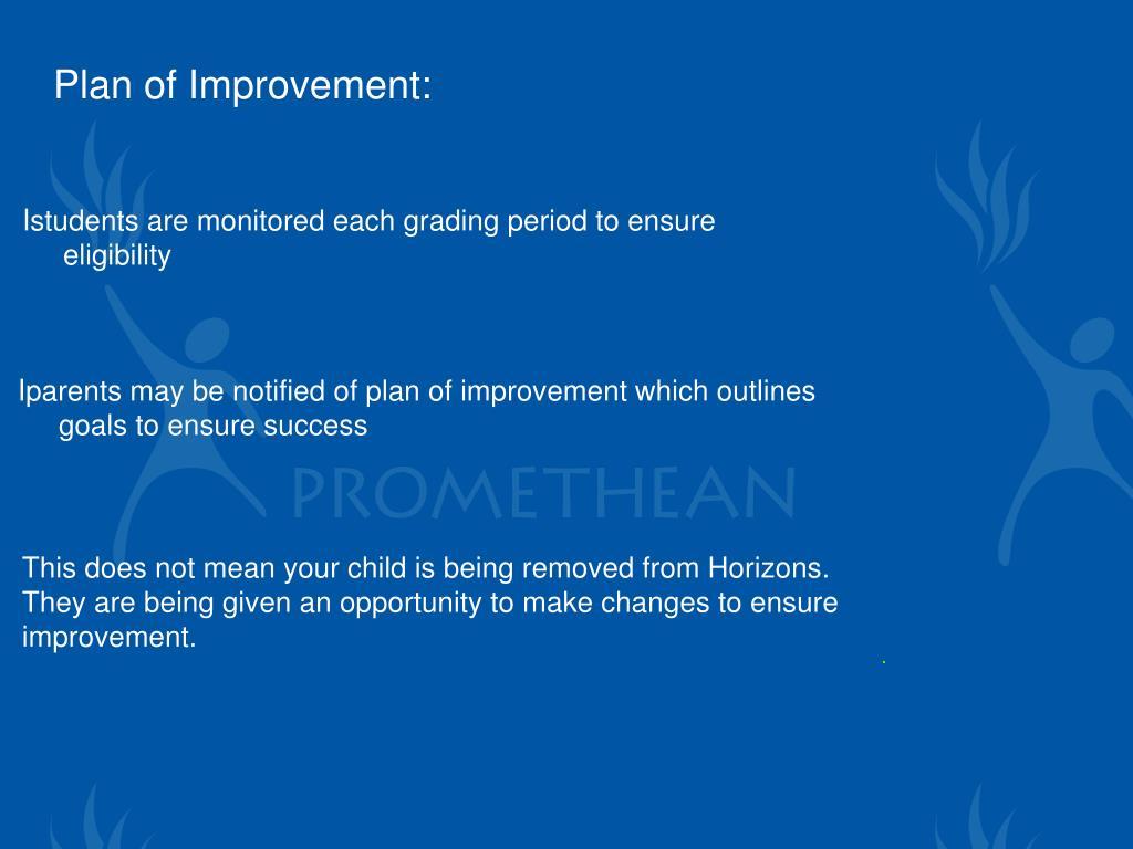 Plan of Improvement: