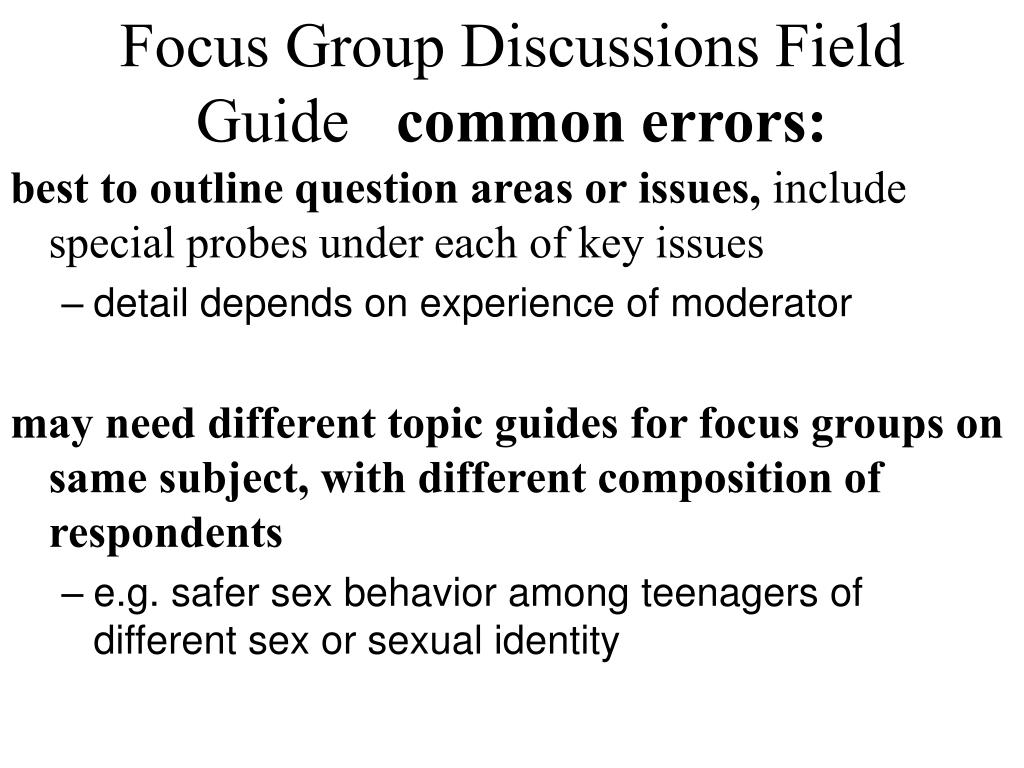 Focus Group Discussions Field Guide