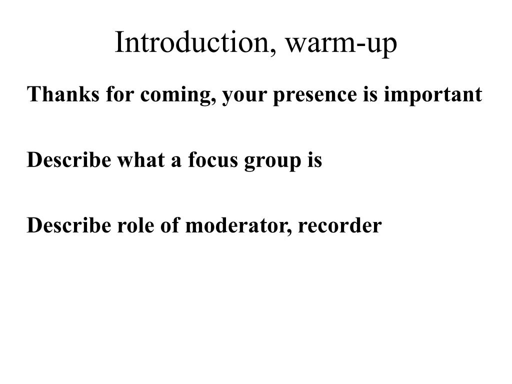 Introduction, warm-up