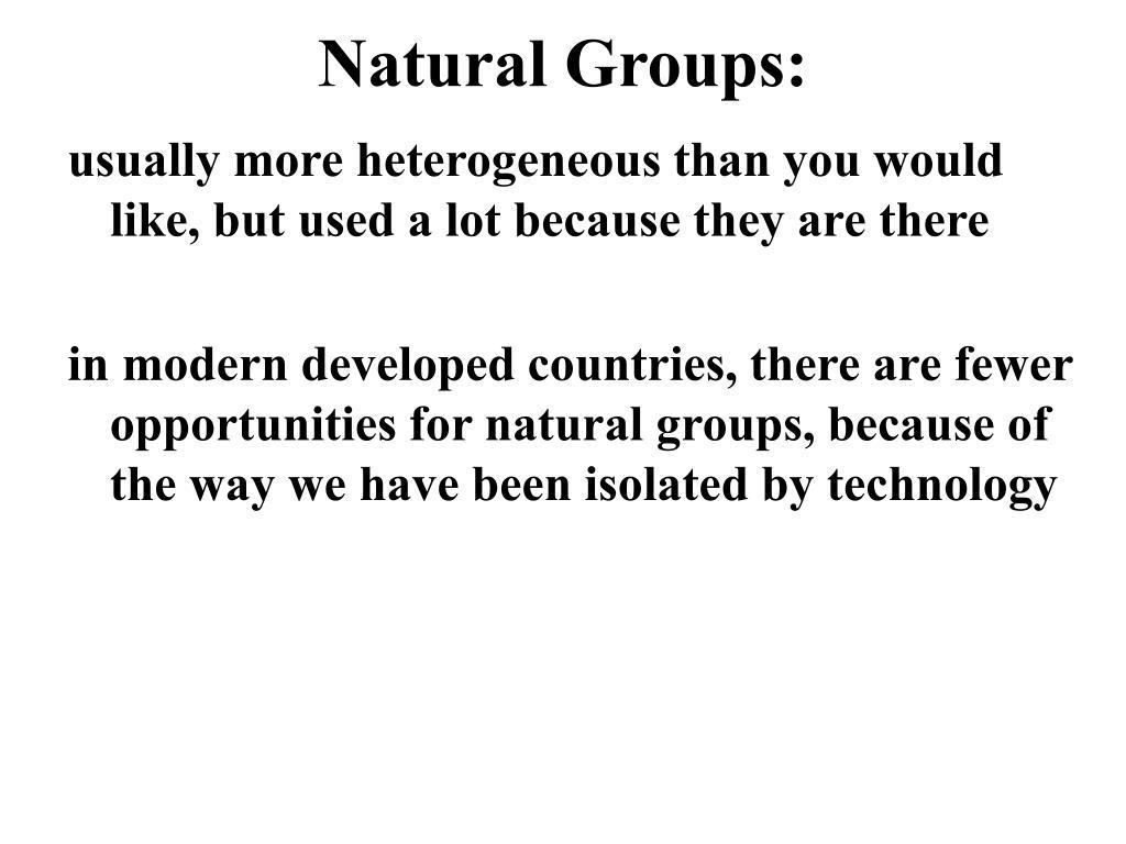 Natural Groups: