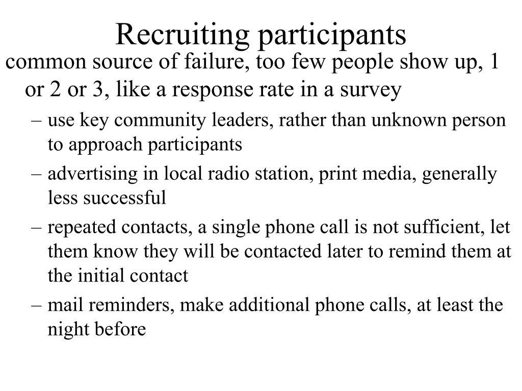 Recruiting participants