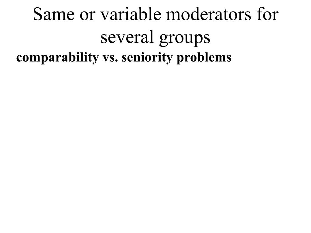 Same or variable moderators for several groups