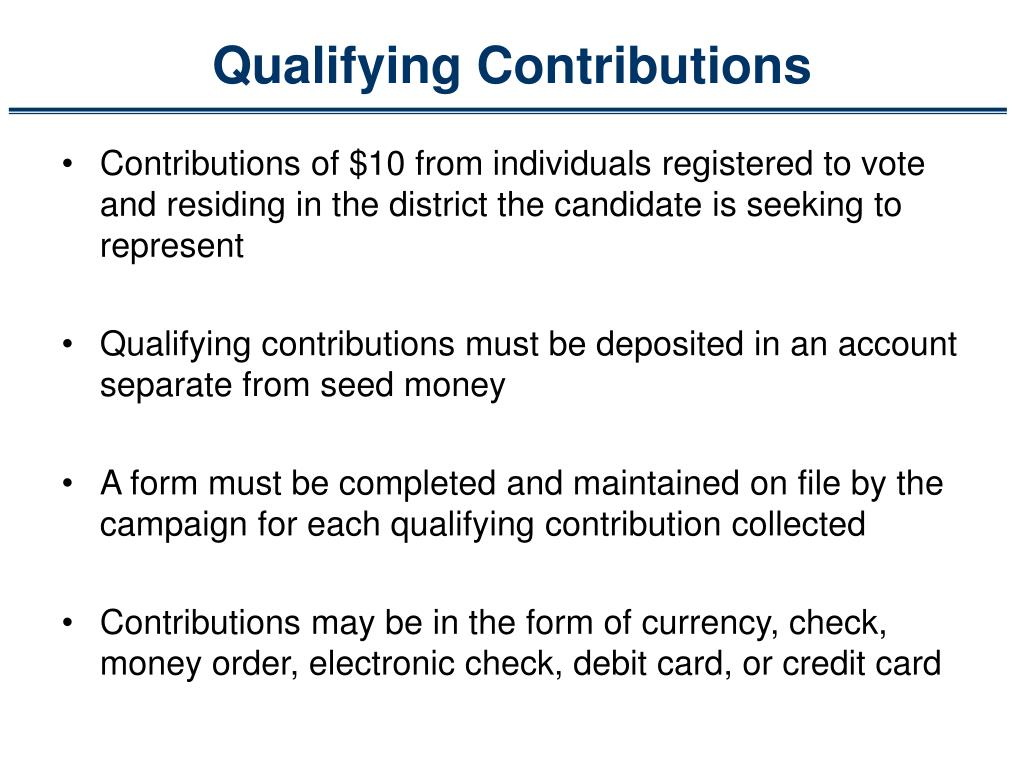 Qualifying Contributions