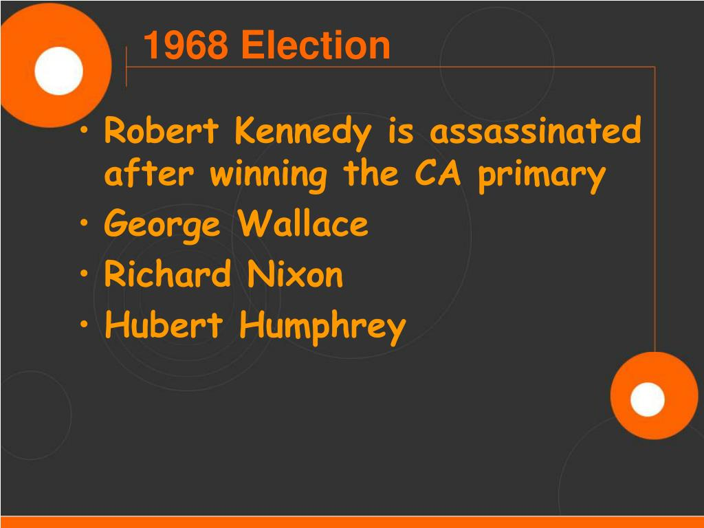 Robert Kennedy is assassinated after winning the CA primary