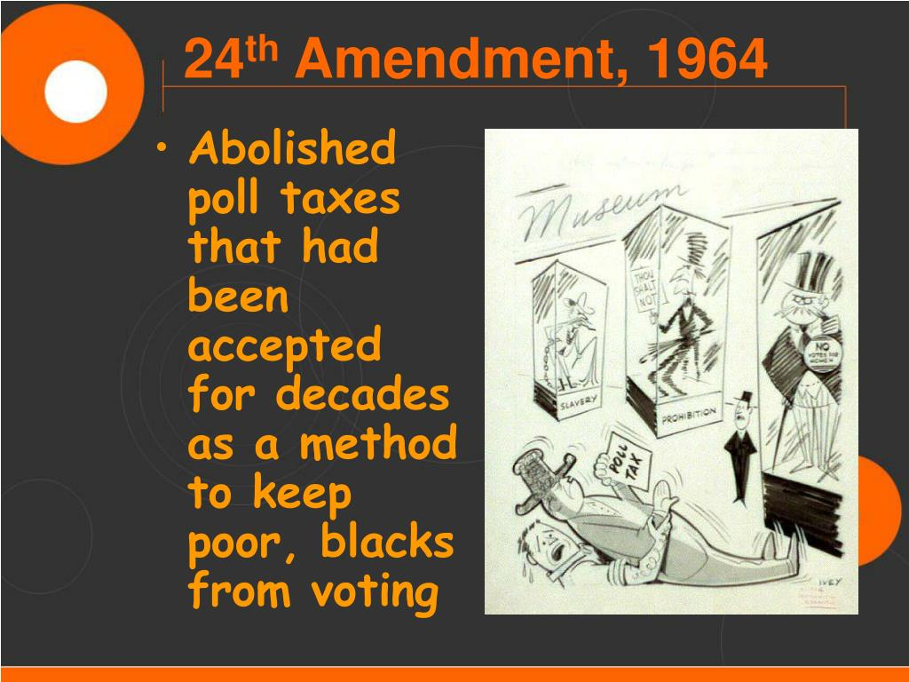 Abolished poll taxes that had been accepted for decades as a method to keep poor, blacks from voting