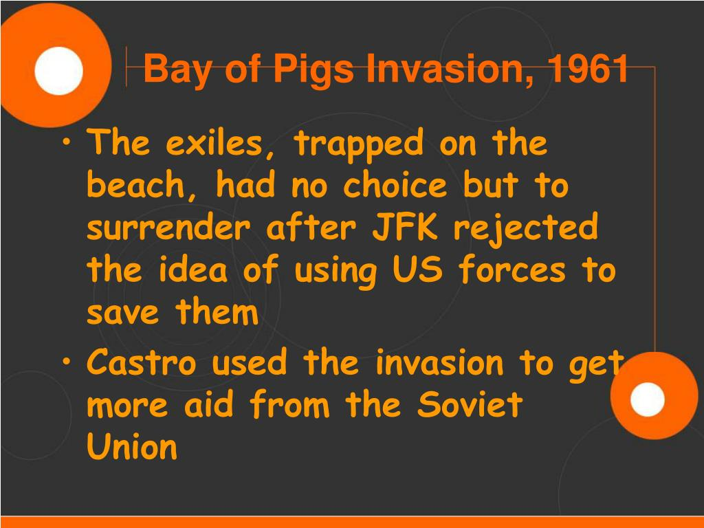 The exiles, trapped on the beach, had no choice but to surrender after JFK rejected the idea of using US forces to save them