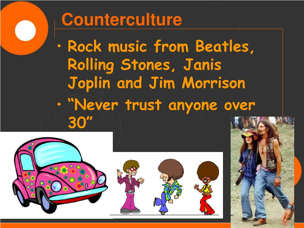 Rock music from Beatles, Rolling Stones, Janis Joplin and Jim Morrison
