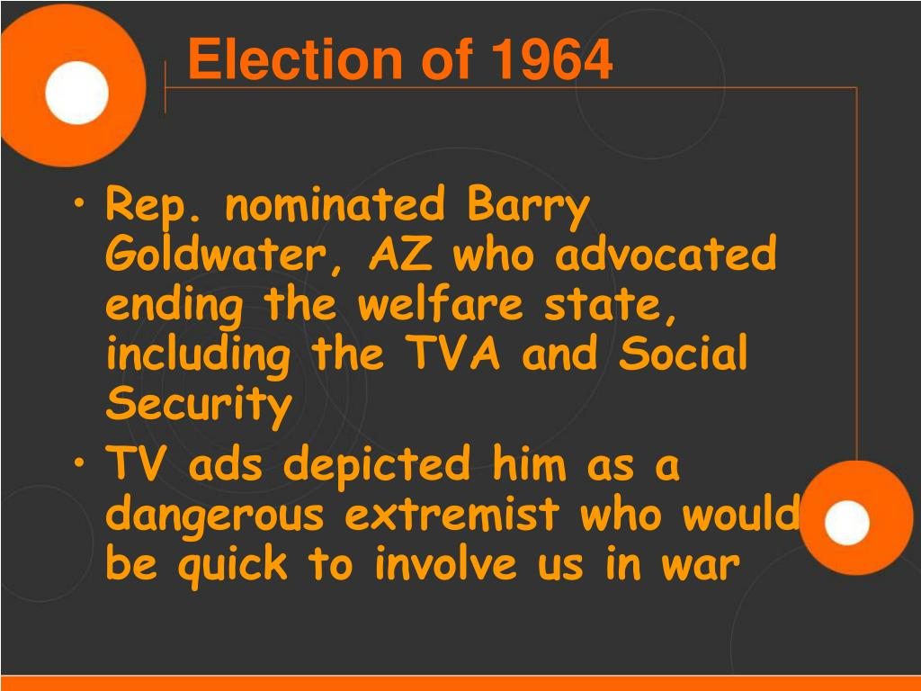 Rep. nominated Barry Goldwater, AZ who advocated ending the welfare state, including the TVA and Social Security