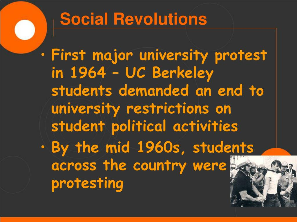 First major university protest in 1964 – UC Berkeley students demanded an end to university restrictions on student political activities
