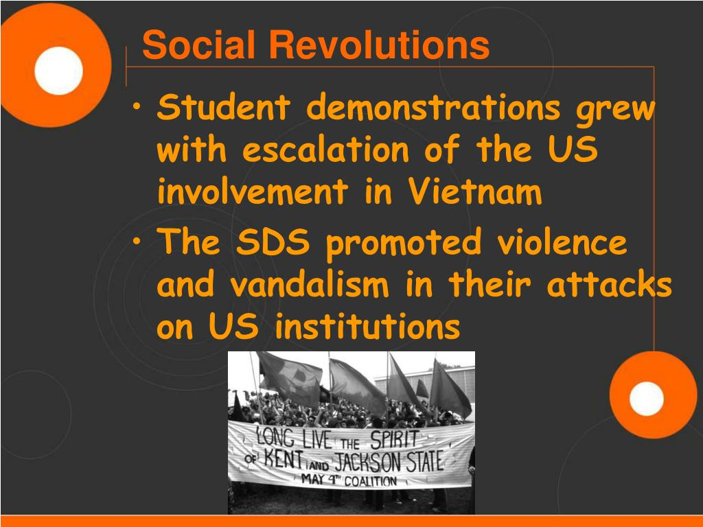 Student demonstrations grew with escalation of the US involvement in Vietnam