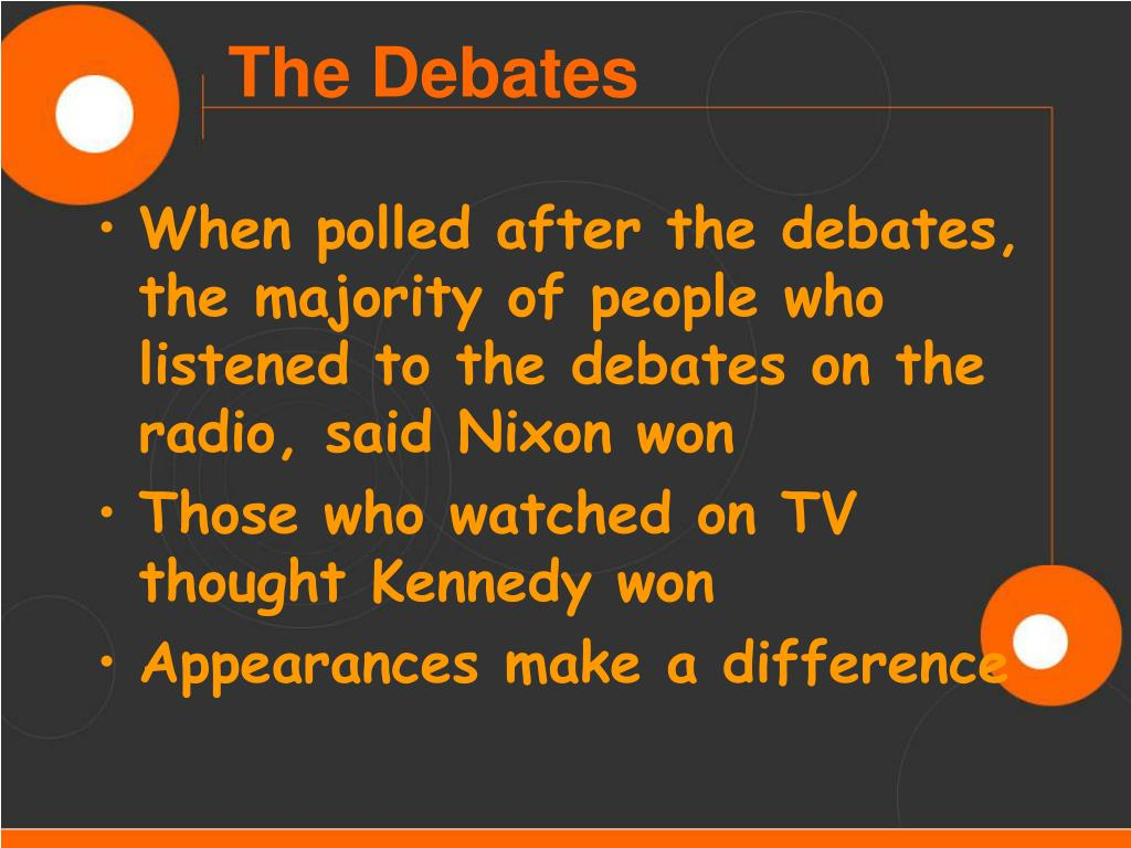 When polled after the debates, the majority of people who listened to the debates on the radio, said Nixon won
