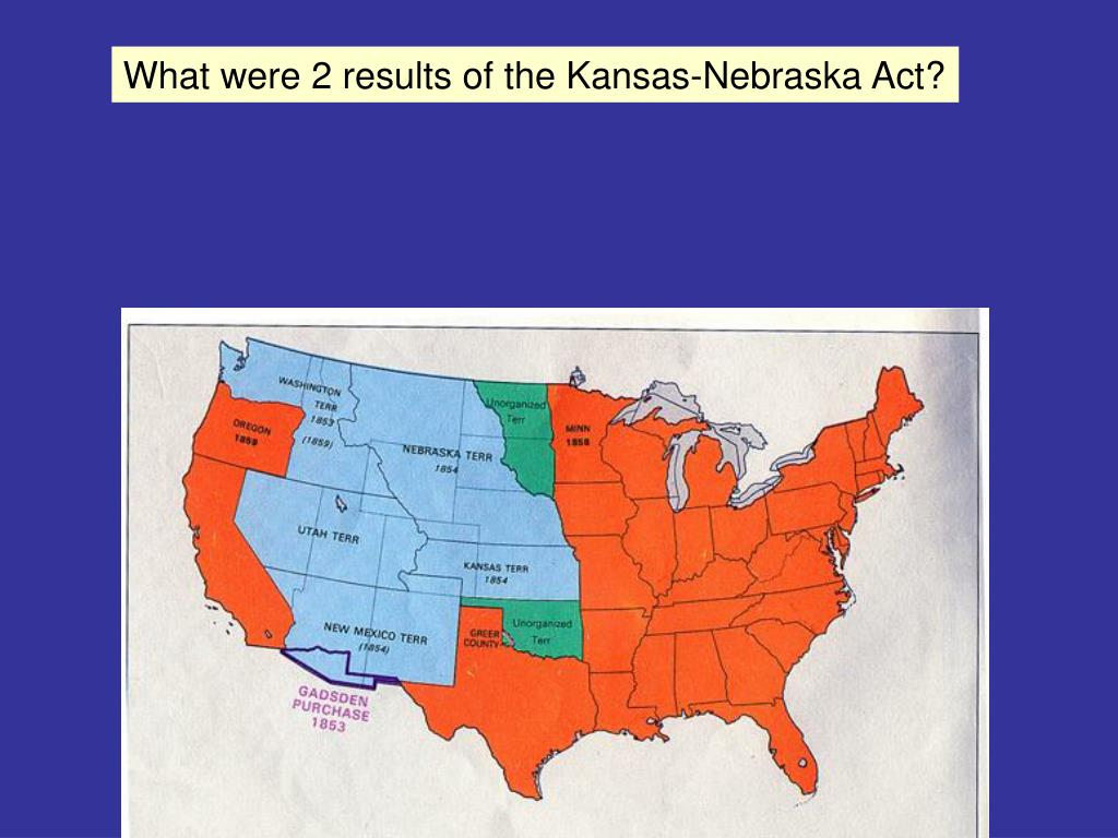 What were 2 results of the Kansas-Nebraska Act?