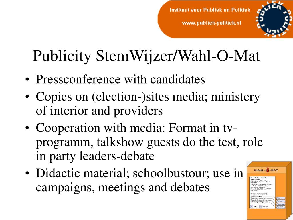 Publicity StemWijzer/Wahl-O-Mat