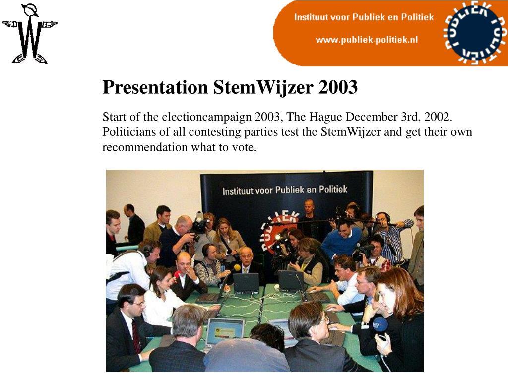 Presentation StemWijzer 2003
