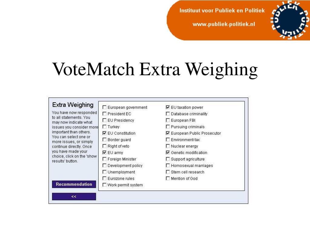 VoteMatch Extra Weighing