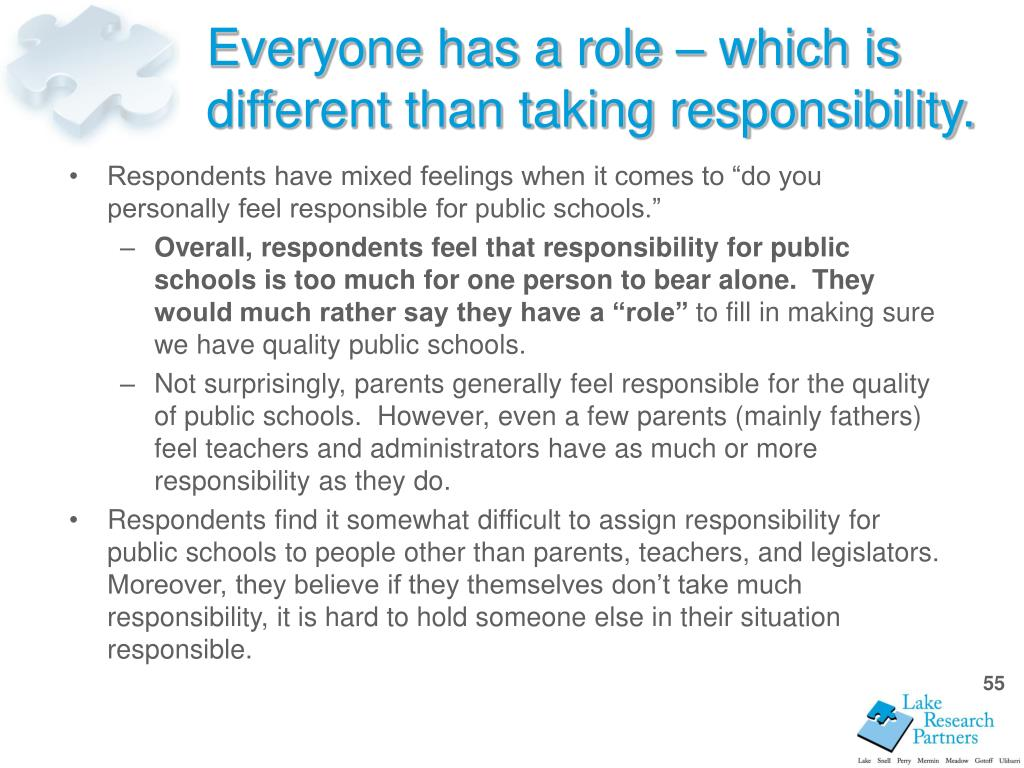 "Respondents have mixed feelings when it comes to ""do you personally feel responsible for public schools."""