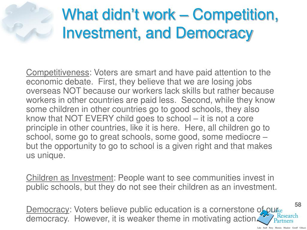 What didn't work – Competition, Investment, and Democracy