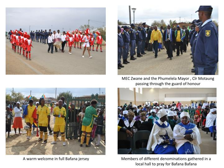 MEC Zwane and the Phumelela Mayor , Clr Motaung passing through the guard of honour