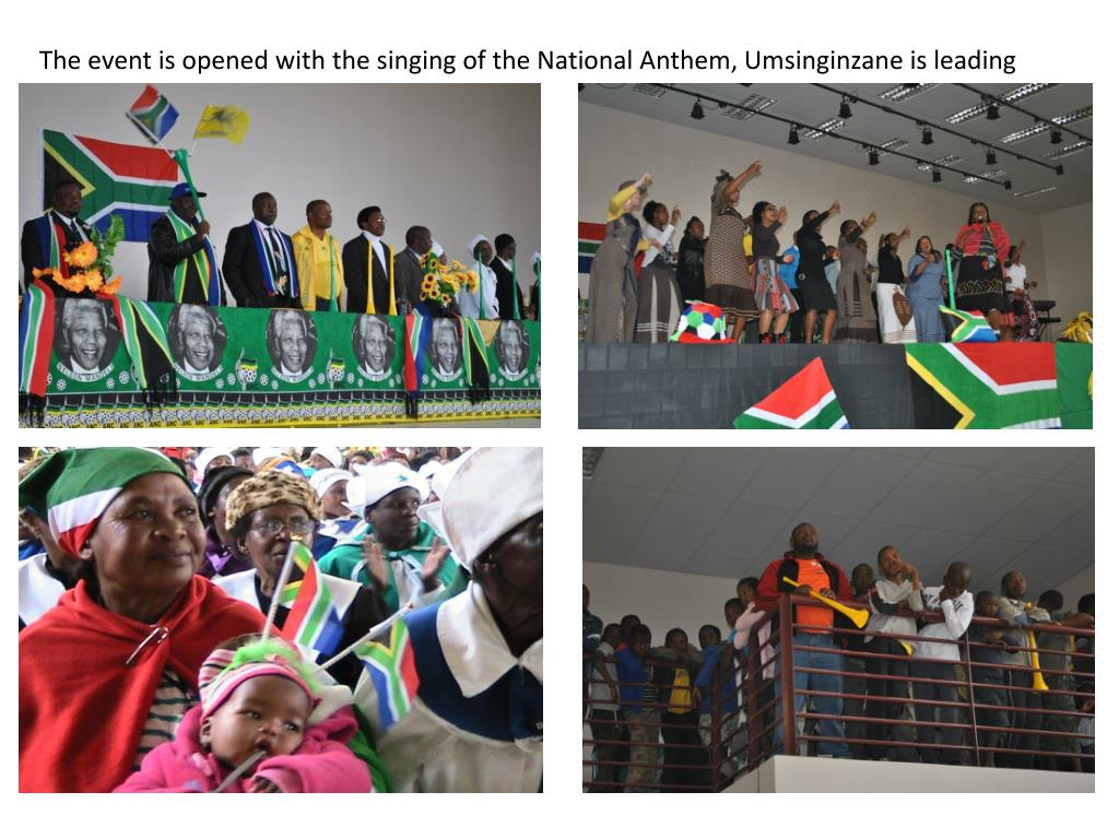 The event is opened with the singing of the National Anthem, Umsinginzane is leading