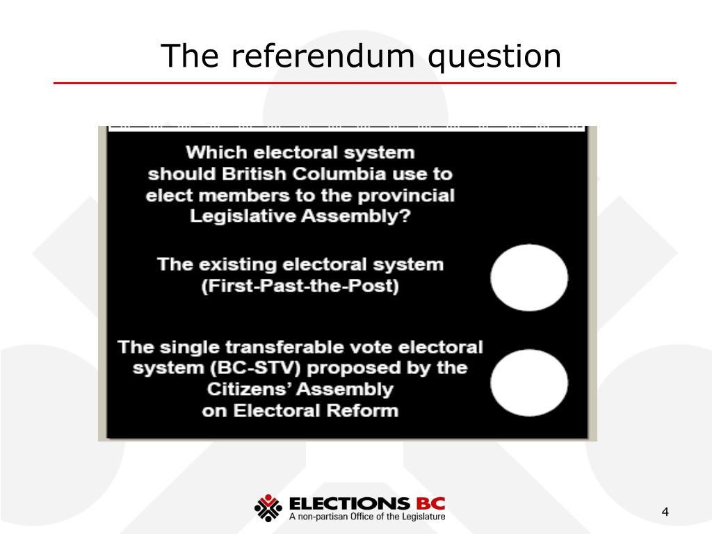 The referendum question