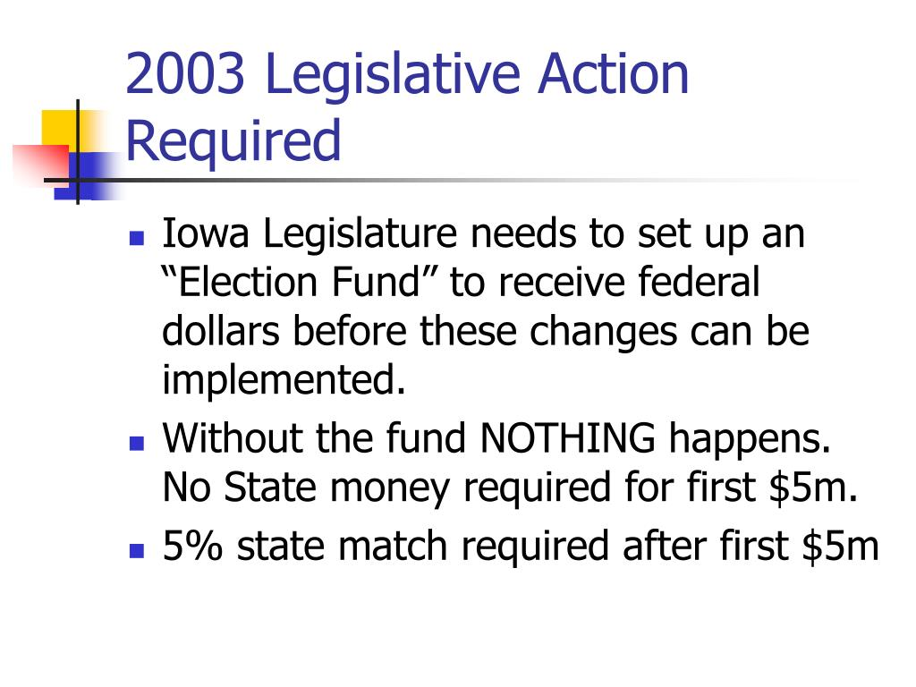 2003 Legislative Action Required