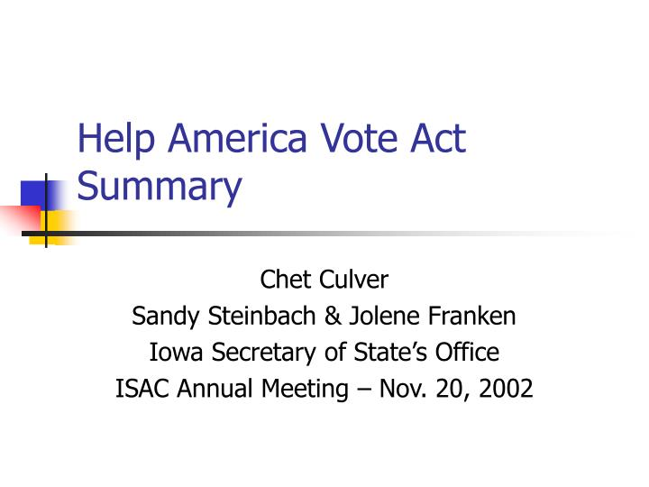 Help america vote act summary