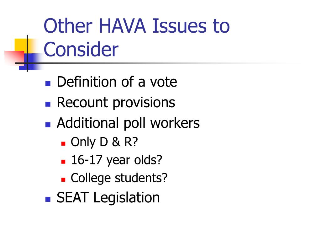 Other HAVA Issues to Consider