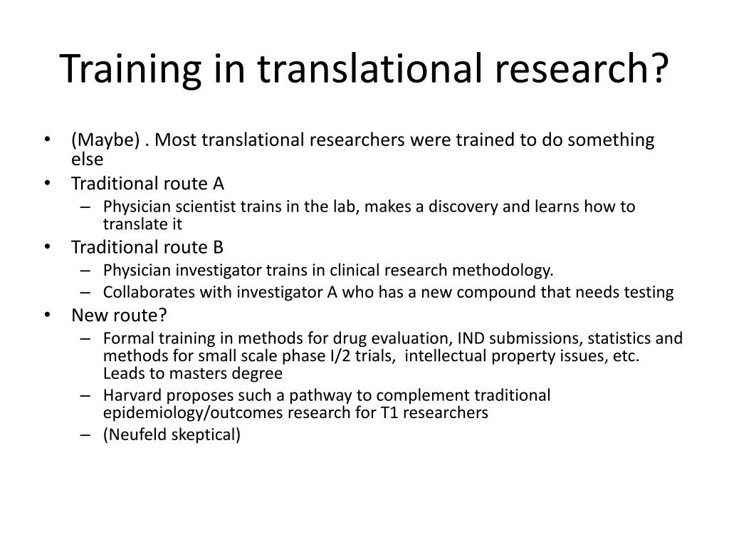 Training in translational research?