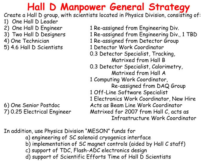 Hall D Manpower General Strategy