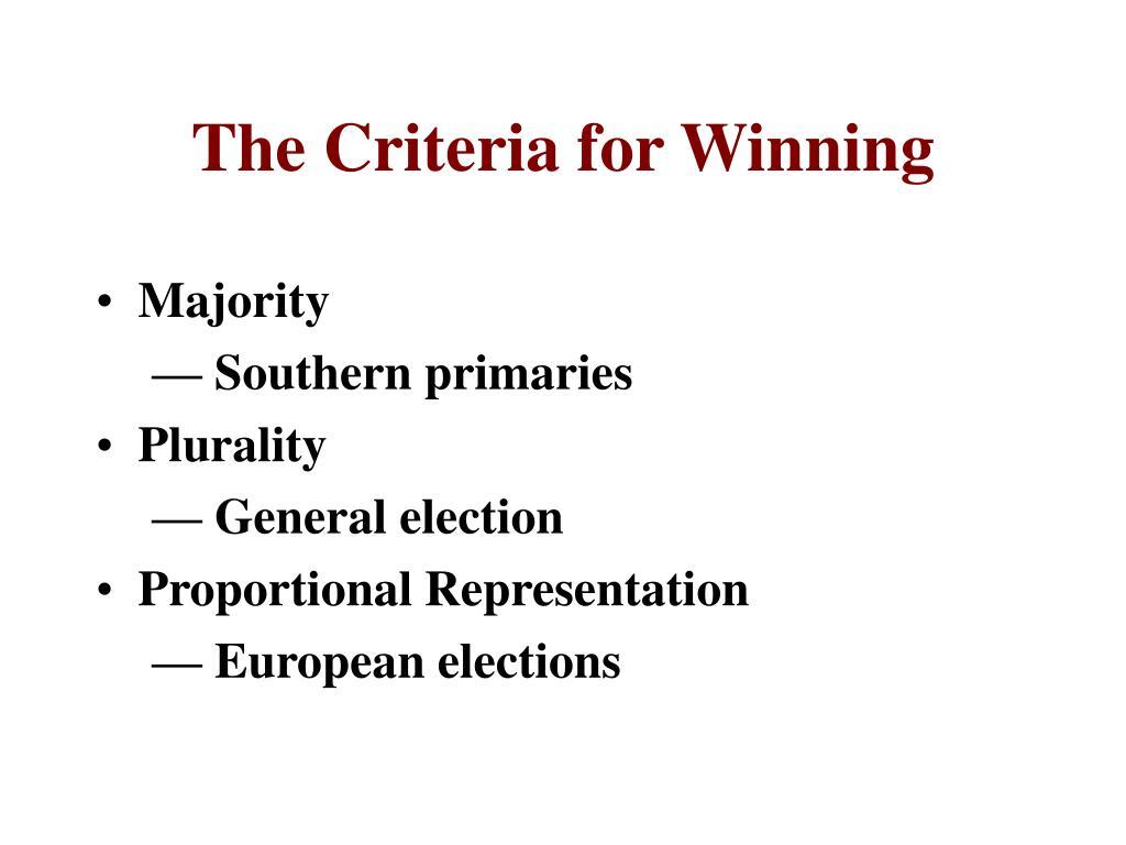 The Criteria for Winning
