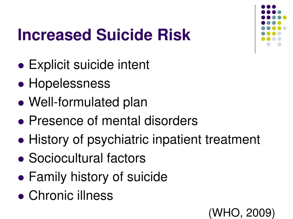 Increased Suicide Risk