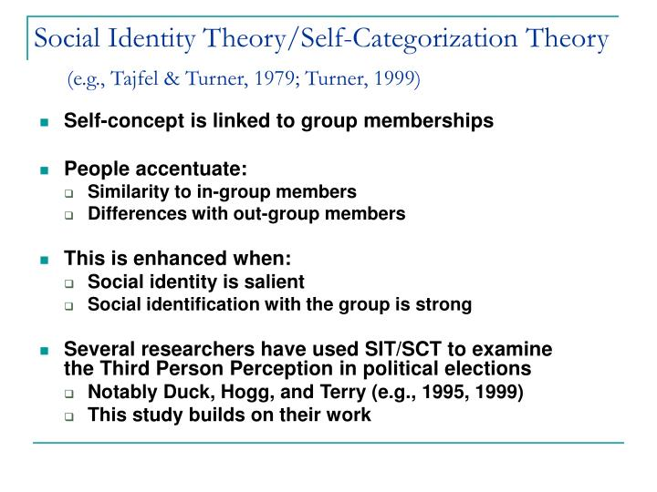 Social identity theory self categorization theory e g tajfel turner 1979 turner 1999 l.jpg