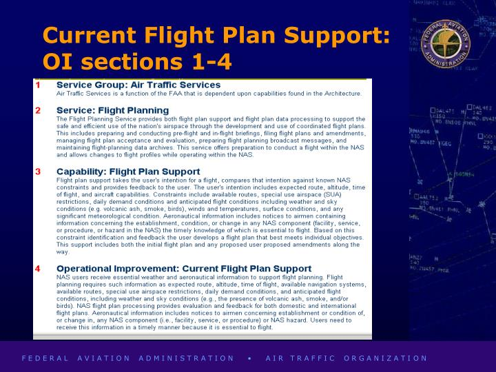 Current Flight Plan Support:  OI sections 1-4