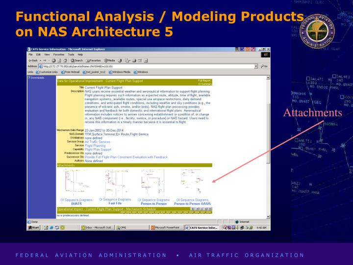 Functional Analysis / Modeling Products on NAS Architecture 5