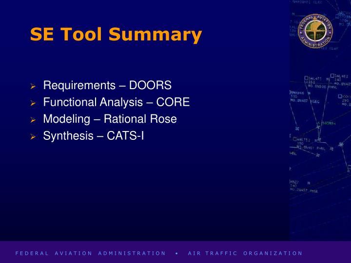 SE Tool Summary