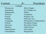 content 8 presidents