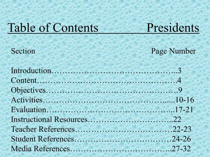 Table of contents presidents