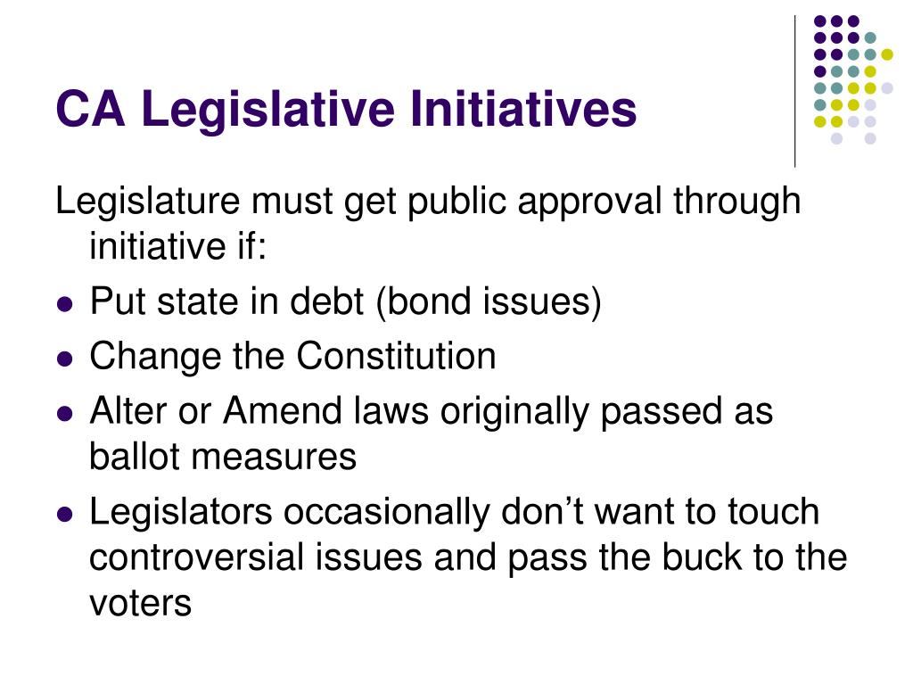 CA Legislative Initiatives