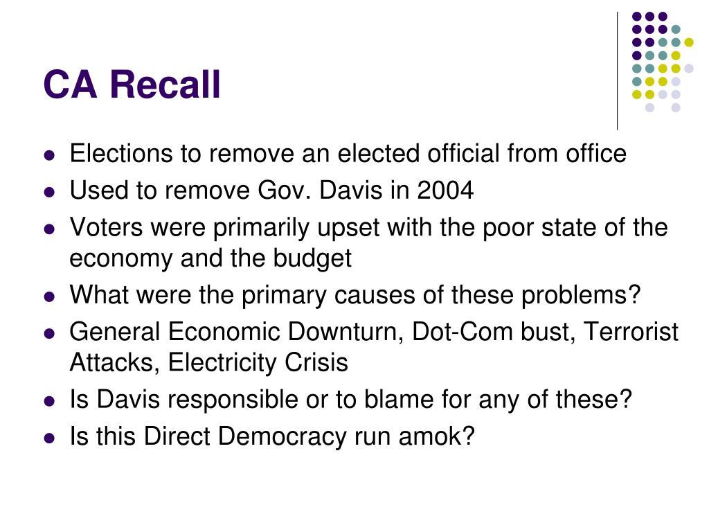CA Recall