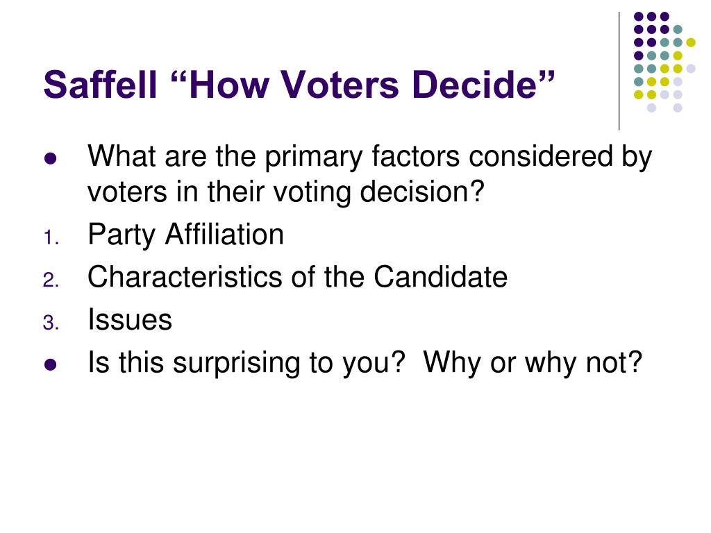 """Saffell """"How Voters Decide"""""""