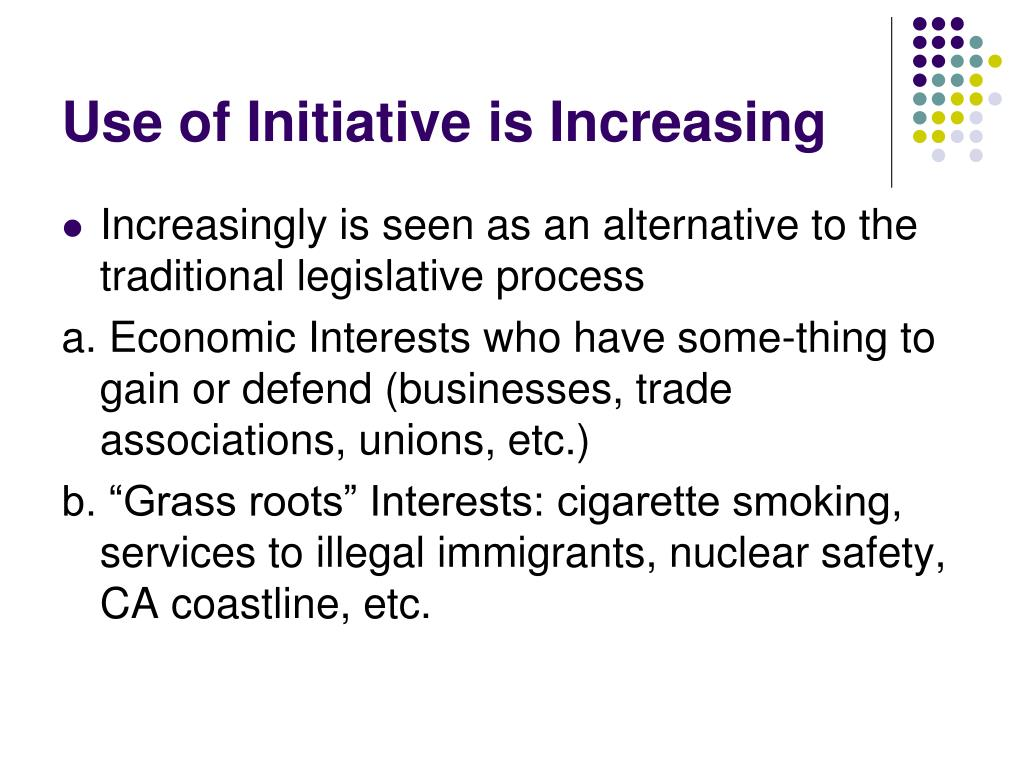 Use of Initiative is Increasing
