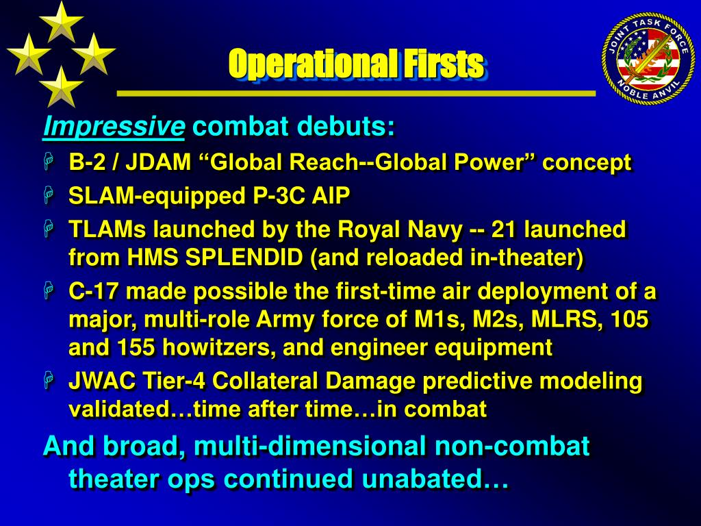 Operational Firsts