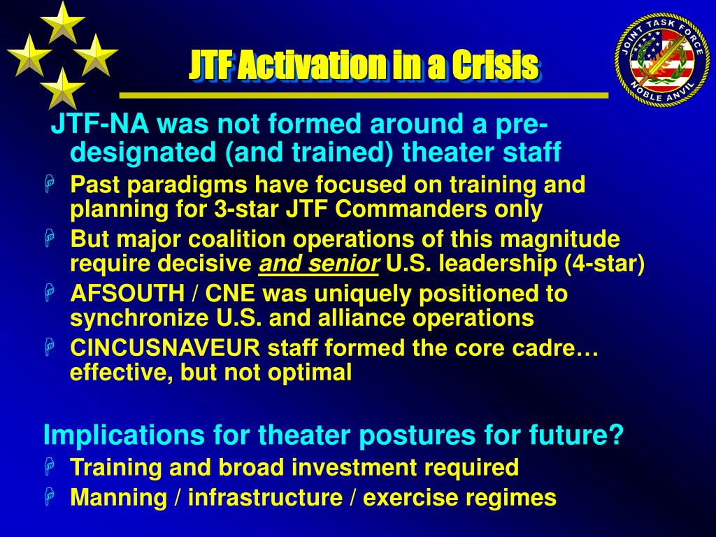 JTF Activation in a Crisis