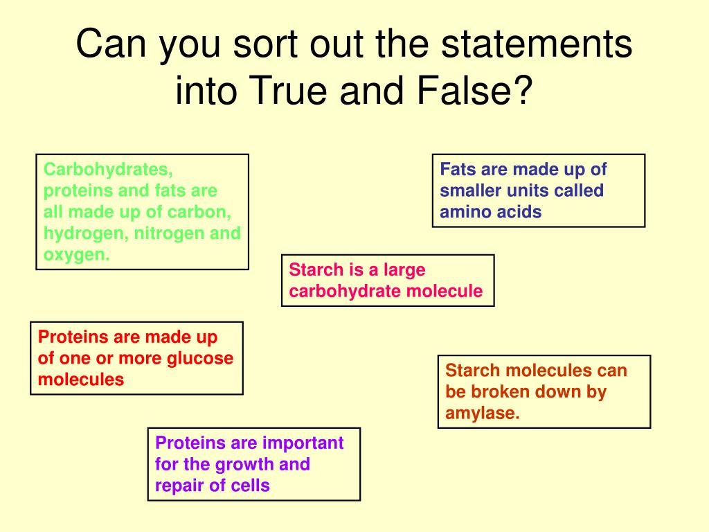 Can you sort out the statements into True and False?