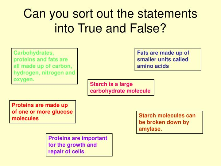 Can you sort out the statements into true and false l.jpg