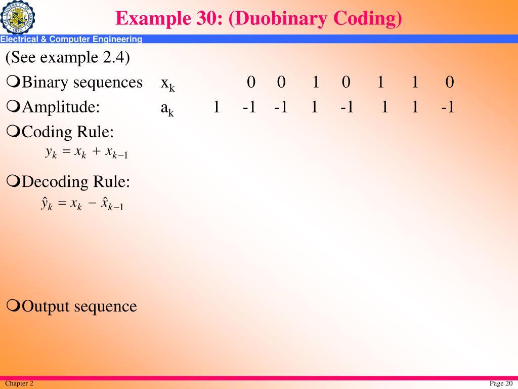 Example 30: (Duobinary Coding)