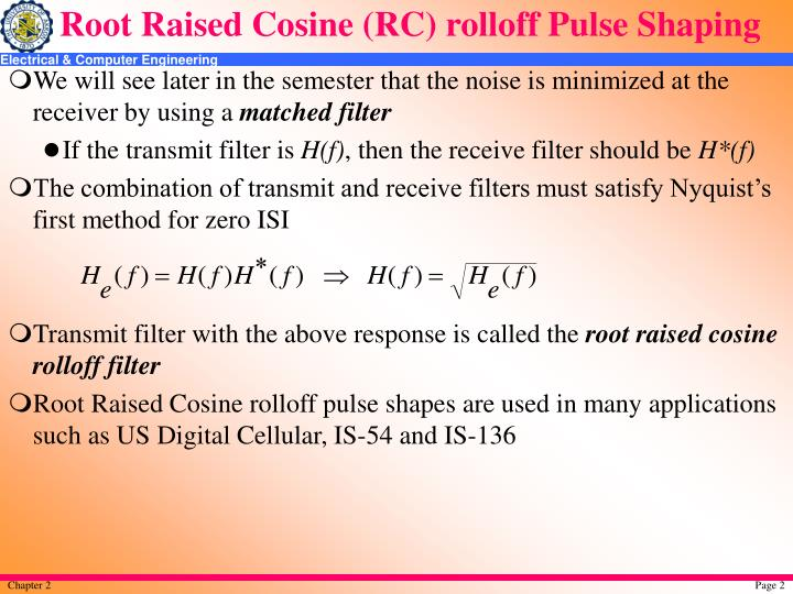Root raised cosine rc rolloff pulse shaping