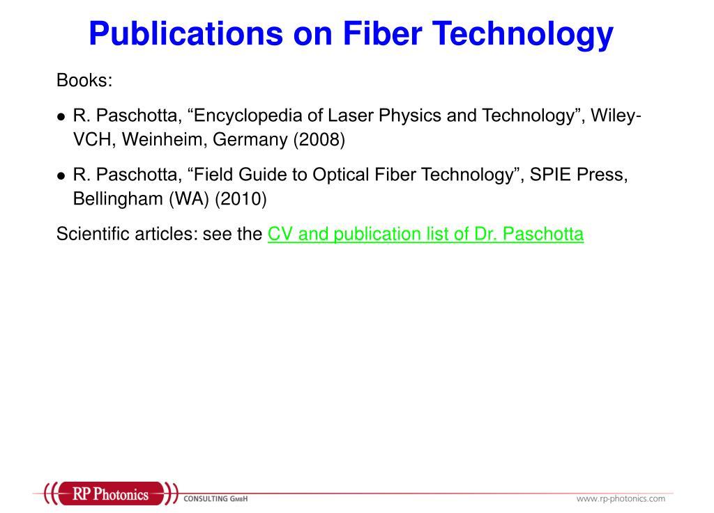 Publications on Fiber Technology