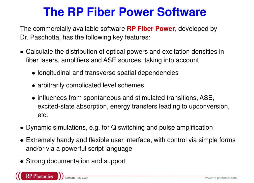 The RP Fiber Power Software