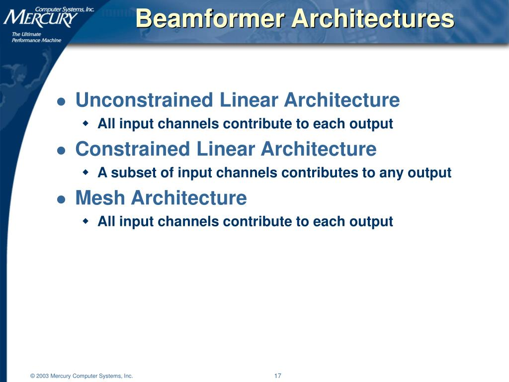 Beamformer Architectures